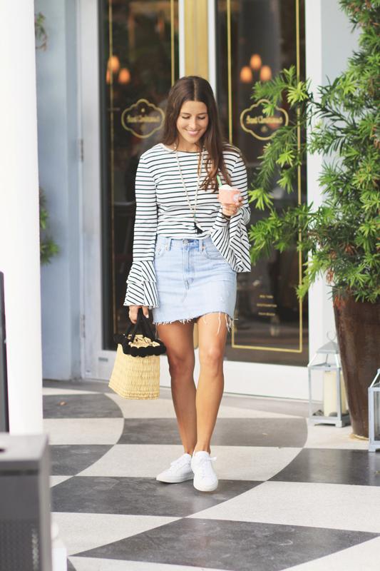 Striped Bell Sleeves & Gelato and denim skirt