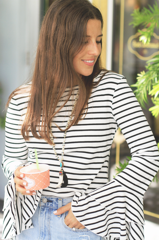 Striped Bell Sleeves & Gelato 1