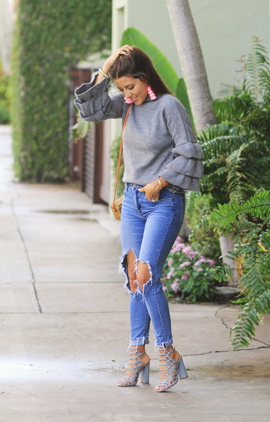 Grey Ruffle Sweater for a Simple Look