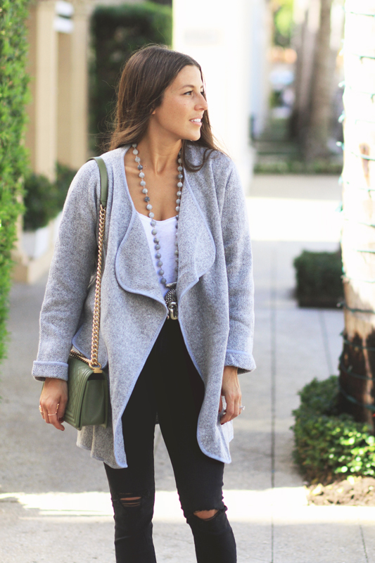 Cardigan Coat & Ballet Slippers for a Simple Look