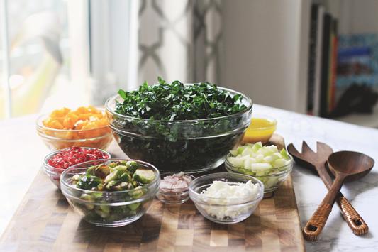 Fall Kale Salad Ingredients