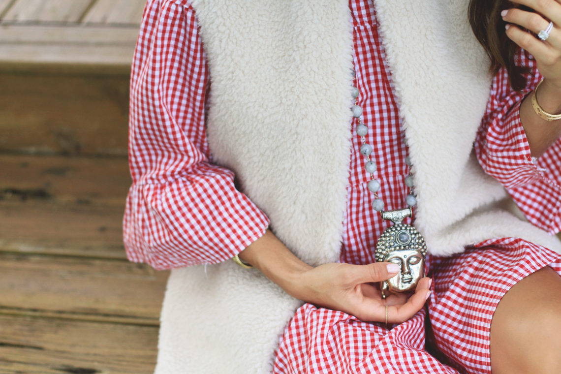 Faux Shearling Vest + Red Gingham Dress