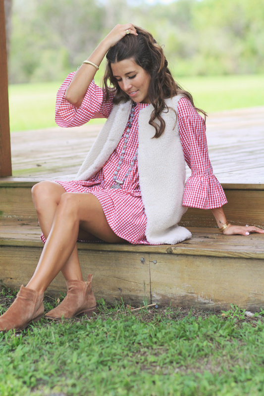 Faux Shearling Vest & Gingham dress