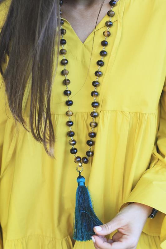 Yellow Swing Dress & Very Allegra Tassel Necklace