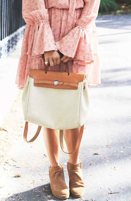 Peachy Dress with Hermes Bag