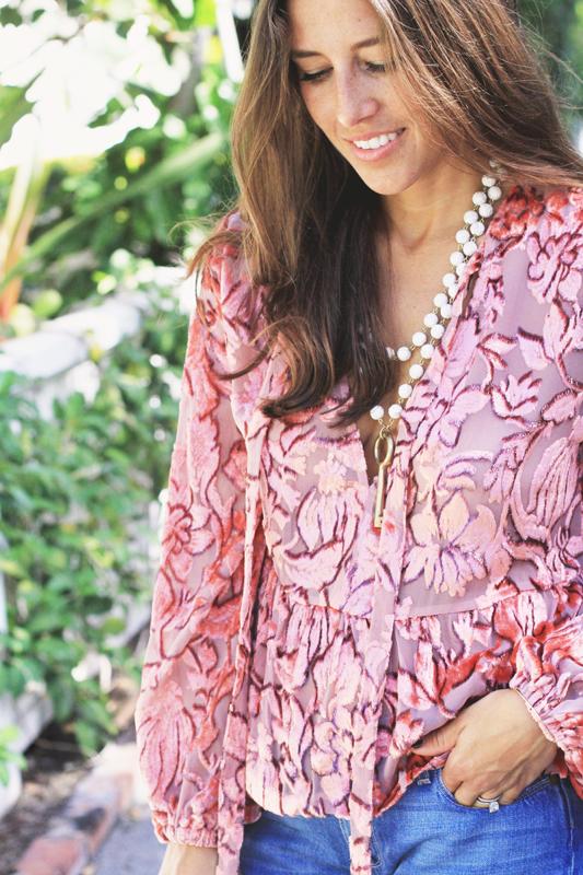 Pink Velvet Top & Very Allegra Necklace