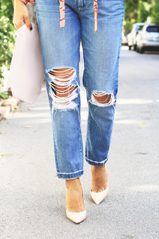 Pink Velvet Top with Ripped Jeans