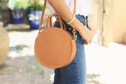 Linen Button Down & Circle Bag
