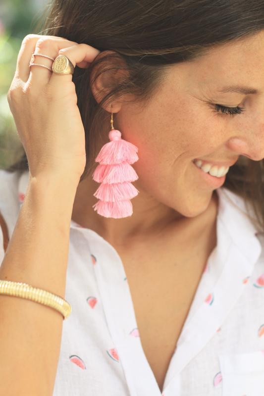 Linen Button Down & Tassel Earrings