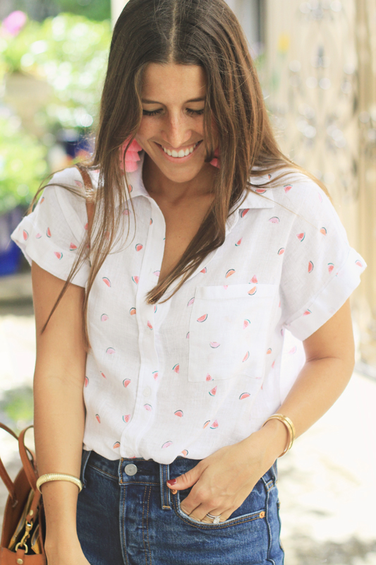 Linen Button Down with Watermelons