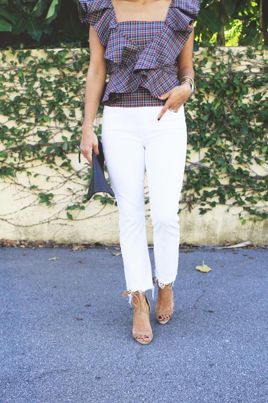 Plaid Ruffle Top White Jeans