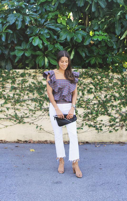 Plaid Ruffle Top & White Jeans