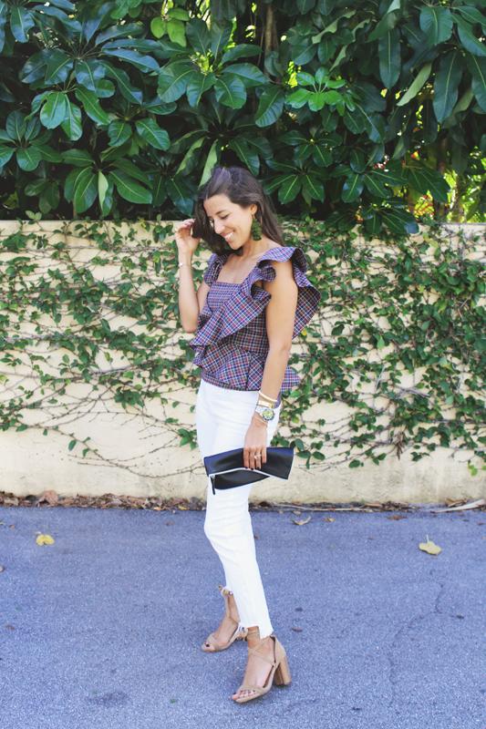Plaid Ruffle Top & Jeans