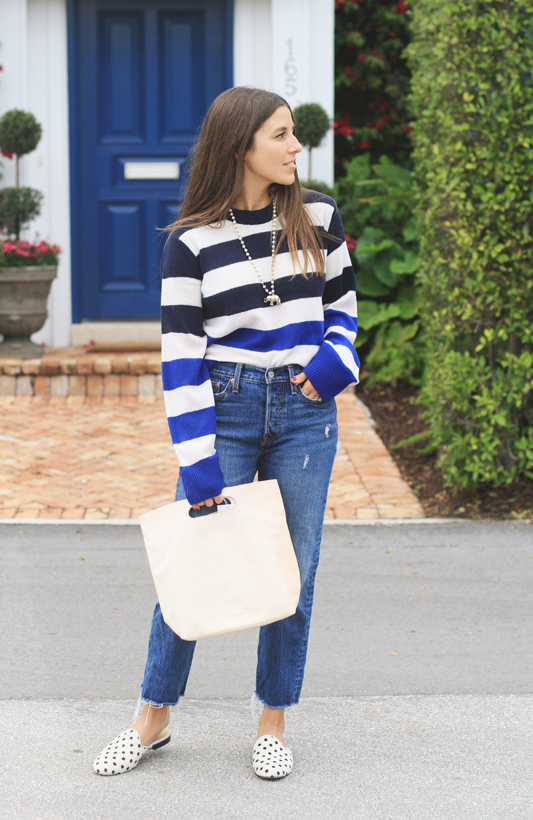 Blue stripe sweater & Levis