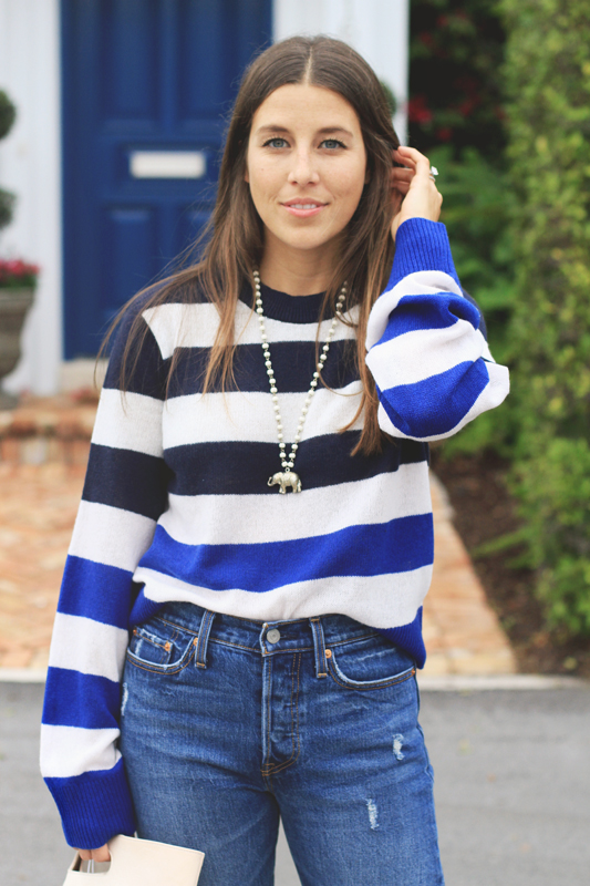 Blue stripe sweater & elephant necklace