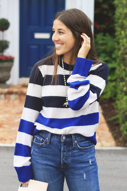 Blue stripe sweater & Jeans