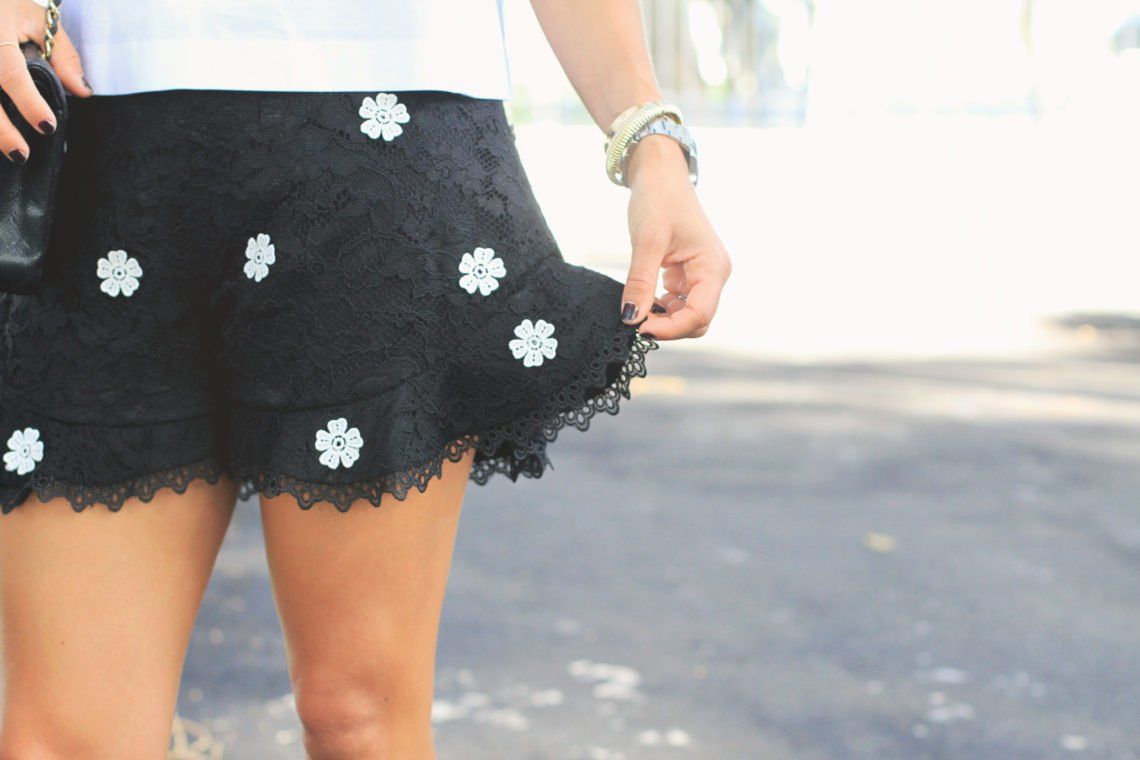 Black Lace Shorts with Floral Detals