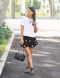 Black Lace Shorts with Floral Details