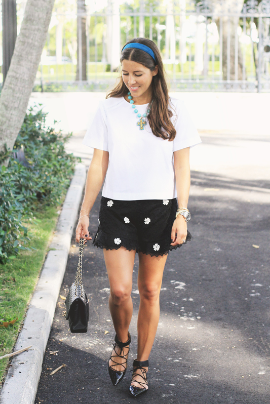 Black Lace Shorts with Floral Detall