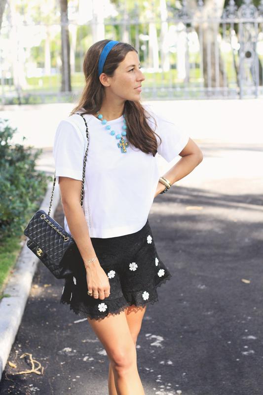 Black Lace Shorts & White Top