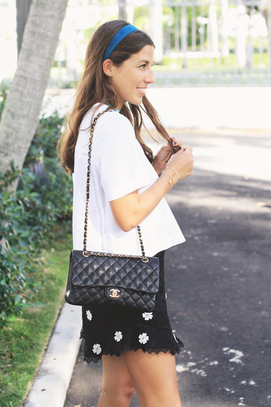 Black Lace Shorts with Chanel Bag