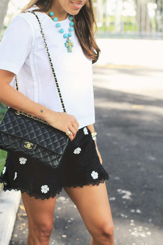 Black Lace Shorts with Chanel