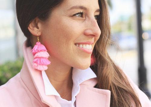 Pink Coat & Tassel Earrings