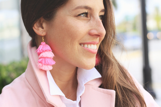Pink Coat & Tassel Earrings