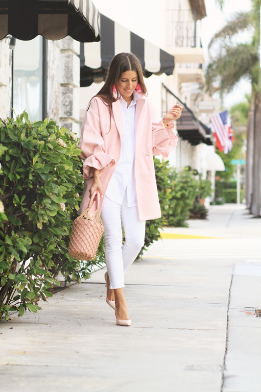Pink Coat & White Jeans