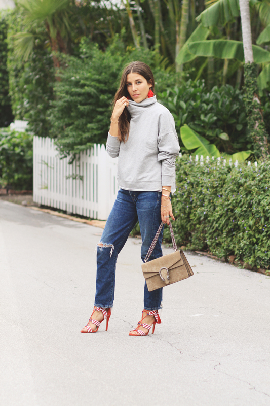 Red Heels, Grey Turtleneck, & Jeans 8