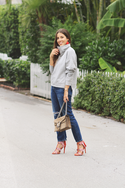 Red Heels, Grey Turtleneck, & Jeans 5