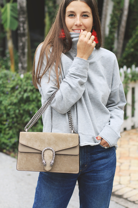 Red Heels, Grey Turtleneck, & Jeans 1