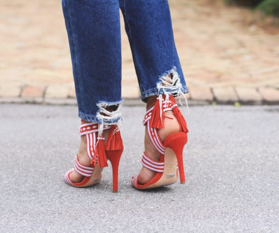 Red Heels, Grey Turtleneck, & Jeans