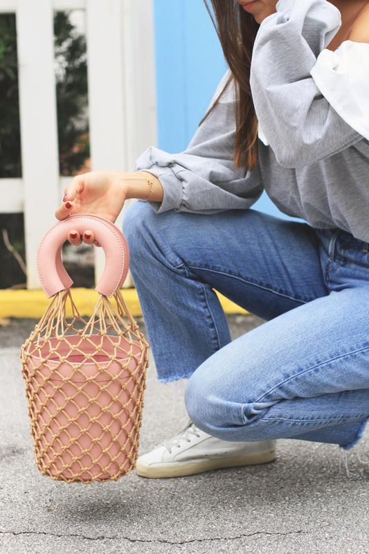 Cold Shoulder Ruffles & Handbag