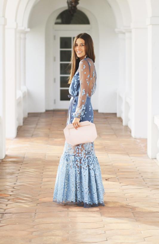 Blue Dot Gown & Pink Clutch