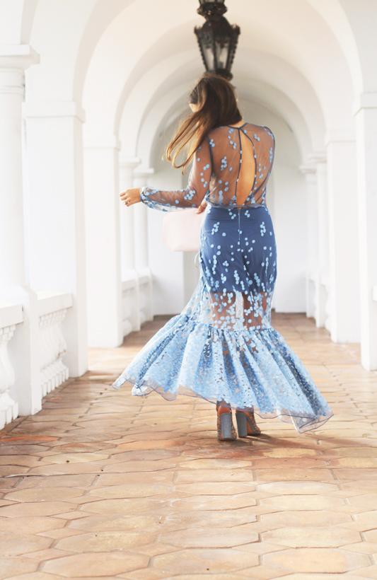Blue Dot Gown Twirl