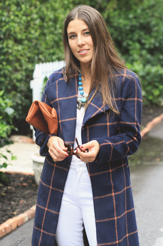 Checkered Coat & White Tee