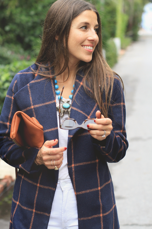 Checkered Coat & Elephant necklace