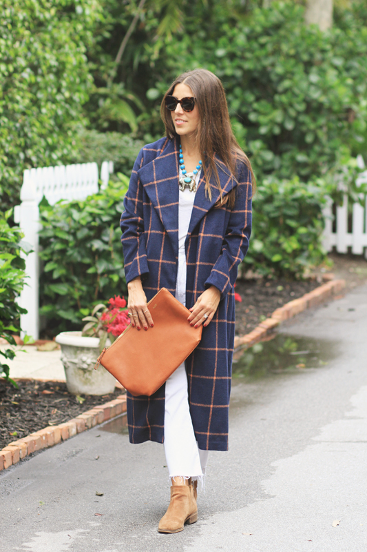 Checkered Coat & Clutch
