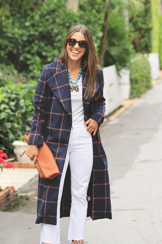 Checkered Coat & White Look