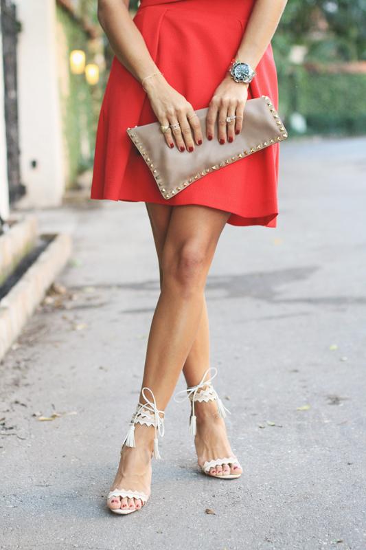Valentine's Day Red Look & White Heels