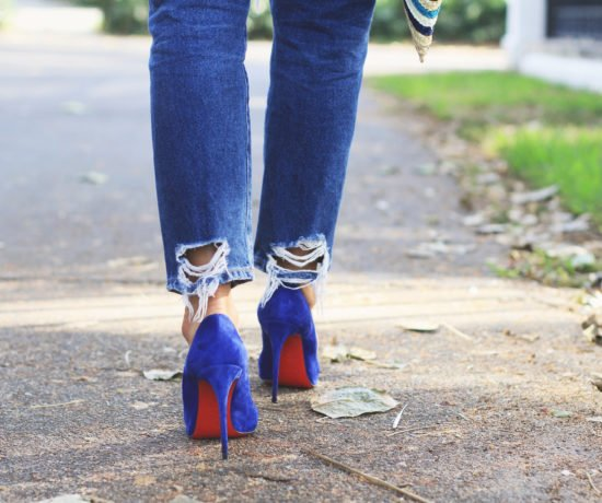 White Knotted Top & Blue Shoes