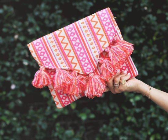 Pink Print Tassel Clutch