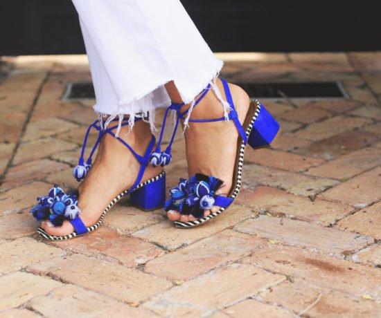 Drop Shoulder Stripe Top & blue heels