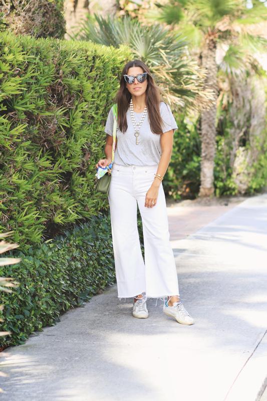 Grey Tee, White Jeans, & GG Sneaks