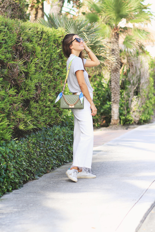 Grey Tee, White Jeans, & Sneakers