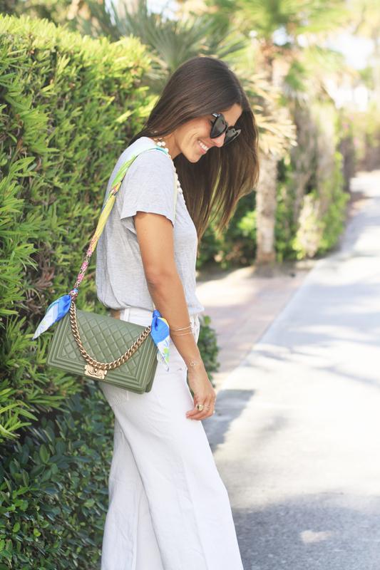 Grey Tee, White Jeans, & Scarf as bag strap