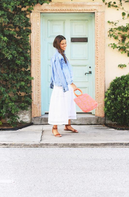 White Slip Dress, Knit Bag, & Go-To Summer Sandals & jean jacket