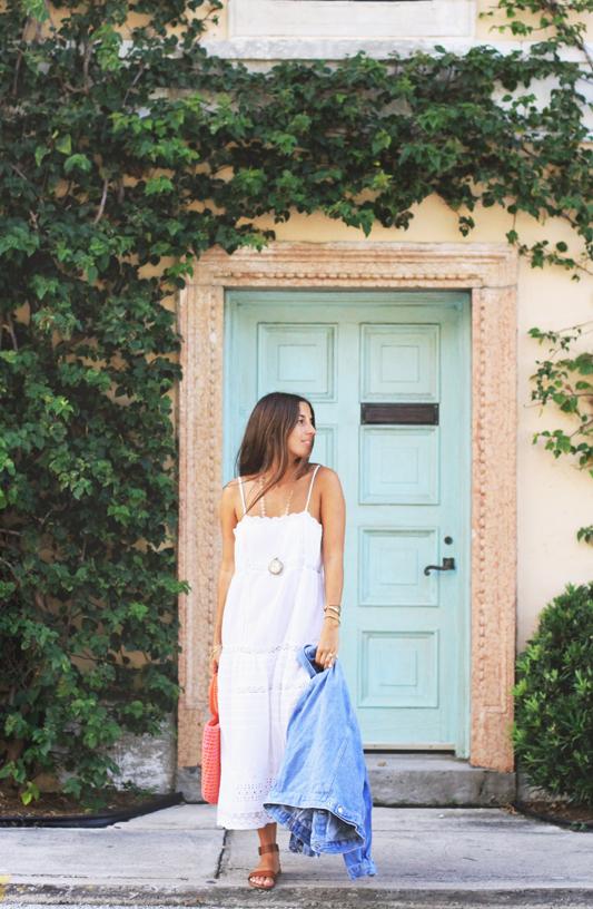 White Slip Dress, Knit Bag, & Go-To Summer Sandals