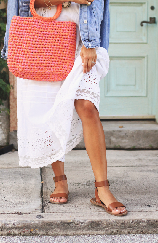 White Slip Dress, Knit Bag, & Go-To Summer Sandals by Madewell